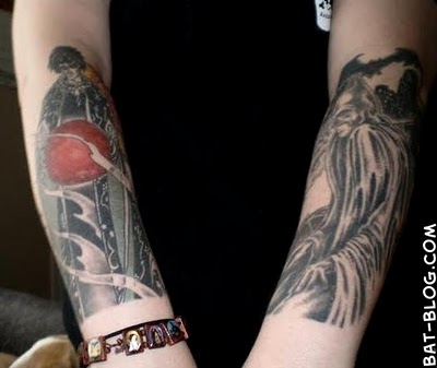 "sent us this wonderful photo showing off her Batman ""Arm Sleeve"" Tattoo."